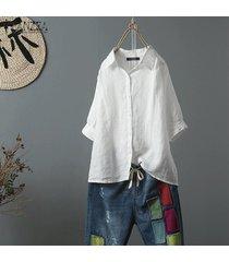 zanzea más el tamaño de las mujeres camisa de algodón étnico tops turn down cuello de la blusa de gran tamaño tops -blanquecino