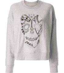 zadig & voltaire champ bead-embellished sweatshirt - grey