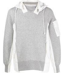 sacai colour-block fitted hoodie - grey