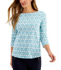 charter club geometric-print top, created for macy's