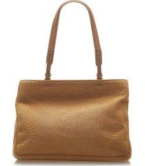 prada wool tote bag brown sz: m