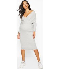 maternity wrap top knitted dress, light grey