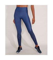 calça legging esportiva ace com recorte animal print onça azul marinho