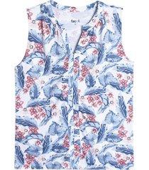 camiseta mujer hojas color blanco, talla 10