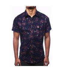 camisa camaleão urbano florida rosas dark masculina