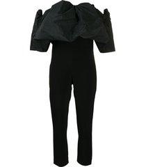 cushnie off-the-shoulder puff silk jumpsuit - black