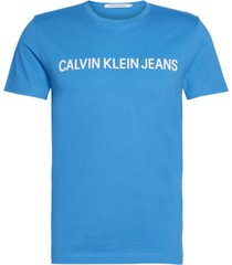 camiseta slim de algodón orgánico con logo azul calvin klein