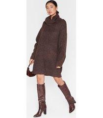 womens knit just got better turtleneck sweater dress - chocolate