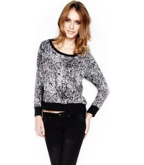 marcus crop pullover w/ elbow patch - l white black wbf