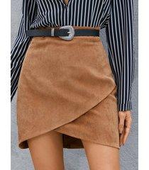 yoins minifalda de pana con dobladillo con aberturas