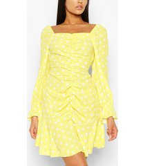 tall polka dot ruched front dress, yellow