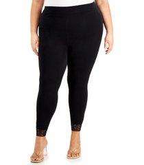 kiss & tell trendy plus size lace-trim leggings