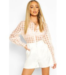 organza mesh flannel blouse, nude