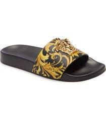 women's versace barocco medusa pool slide sandal, size 10us - black