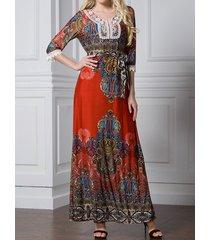 maxi vestito lungo stampa fantasia etnica con ricamo