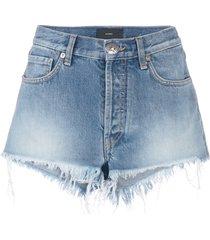 alanui beaded denim shorts - blue