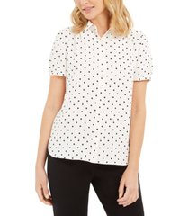 anne klein dot-print button-up short-sleeve blouse
