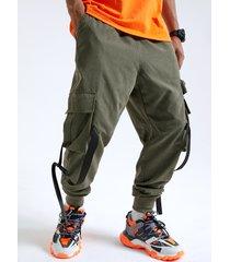 cinta casual de moda para hombre diseño cordón carga pantalones