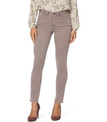 women's nydj alina ankle skinny jeans, size 8 - beige