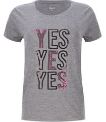 camiseta lentejuelas yes color gris, talla l