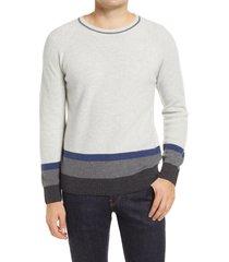 men's bugatchi stripe wool & cashmere blend crewneck sweater, size small - grey