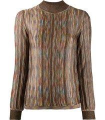 missoni funnel neck intarsia knit sweater - gold