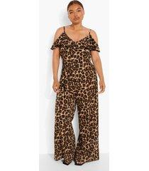 plus geweven jumpsuit met franjes en uitgesneden schouders, leopard
