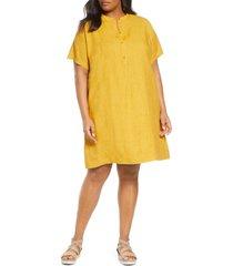 plus size women's eileen fisher short sleeve organic linen shift dress