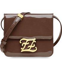 fendi karligraphy patent leather shoulder bag - brown