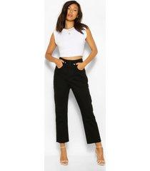 skinny jeans met hoge taille, gewassen zwart