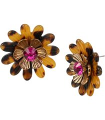 betsey johnson tortoise daisy button earrings