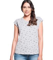 camiseta slim mini print low gris jaspe medio