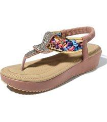 donna casual shake shoes sandali piatti in strass in pelle con strass in microfibra