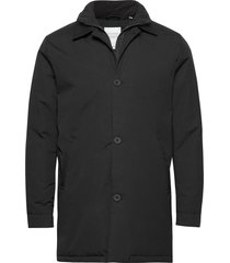 arctic canvas jacket with buttons - trenchcoat lange jas zwart knowledge cotton apparel