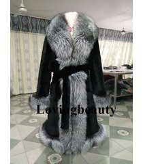 silver fox fur collar trim black rabbit fur full length buffalo/coat/mink coat