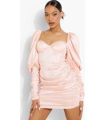 bodycon mini jurk met geplooide pofschouders, blush