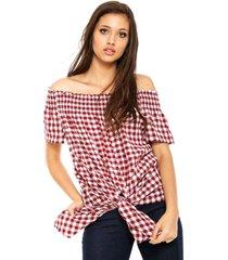 blusa facinelli by mooncity ombro-a-ombro vichy vermelha/branca