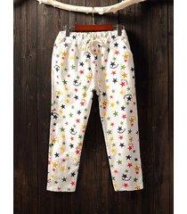 pantaloni casual elasticizzati con stampa star star per le donne