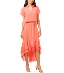women's 1.state wildlfower bouquet high/low dress, size x-large - coral