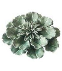 objeto decorativo em ceramica desabrochar artex - tamanho unico - verde claro