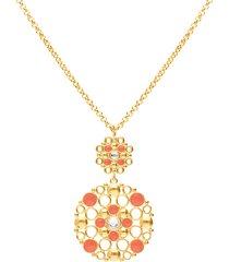 collana lunga in ottone rosato con cristalli e smalto arancione per donna
