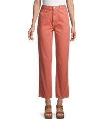 j brand women's jules high-rise straight jeans - orange - size 25 (2)