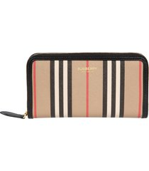 burberry elmore icon stripe zip-around wallet