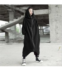 zanzea chaqueta larga con capucha de manga larga con capucha bolsillos con cremallera dobladillo irregular abrigo de vellón sólido mujeres invierno cálido resistente al viento ropa de abrigo básica negro -negro