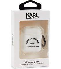 karl lagerfeld paris logo airpod case - white