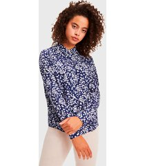 blusa  tommy hilfiger  scattered floral azul - calce regular