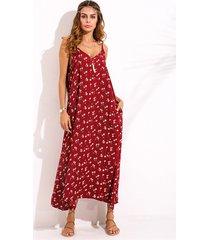 donna maxi-abito di stile bohemien a stampa floreale con spalline a spaghetti