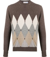 ballantyne diamond pullover cashmere jumper - brown