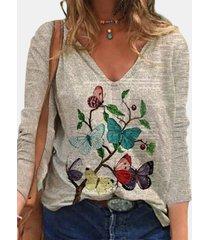 camicetta casual da donna a maniche lunghe con scollo a v stampa farfalle newpaper