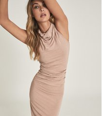 reiss tora - ruched wool-jersey bodycon dress in blush, womens, size xl